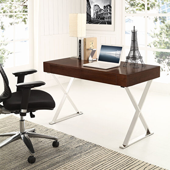 Walnut top / chrome base & legs contemporary office desk