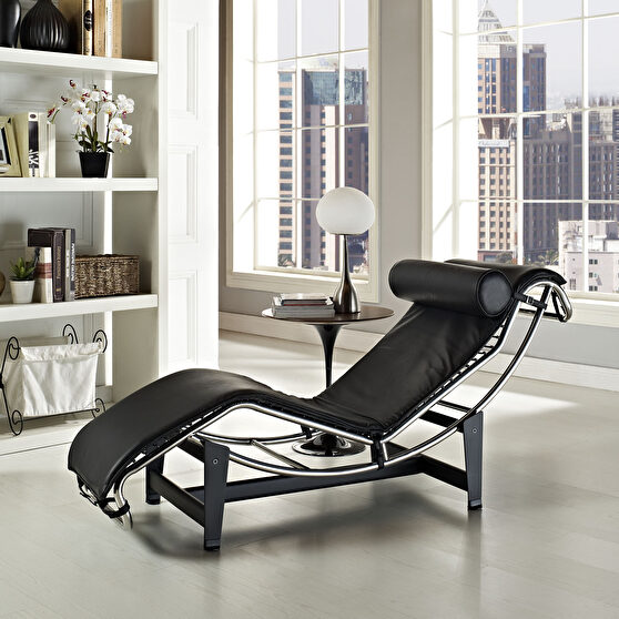 Leisure black leather chaise lounge