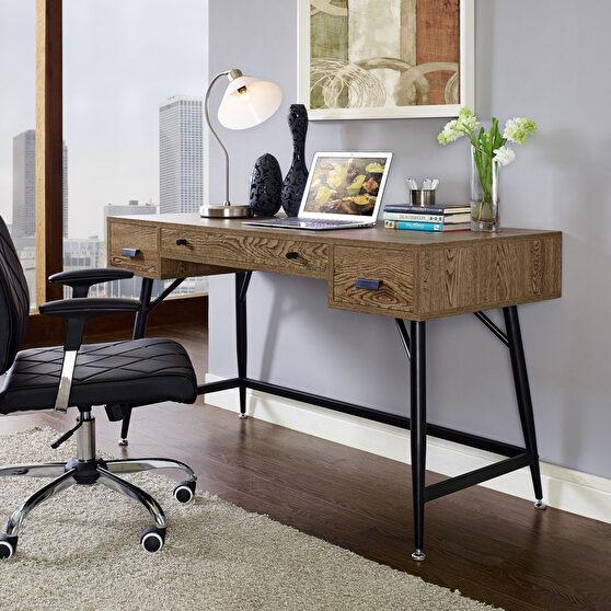 Walnut contemporary desk w/ black legs