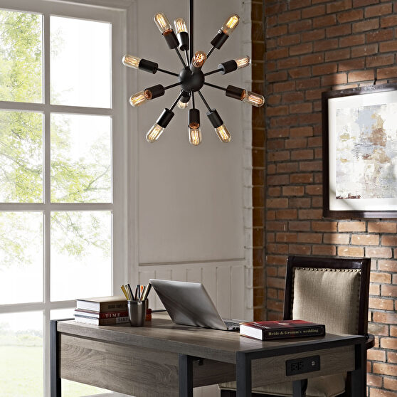 Black contemporary spike style chandelier