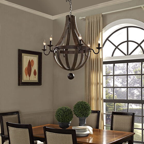 Solid hardwood medieval style chandelier