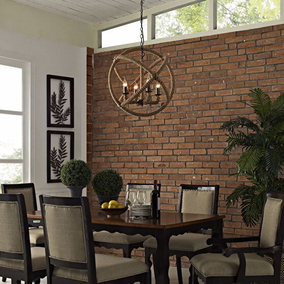 Contemporary style geometric rope construction chandelier