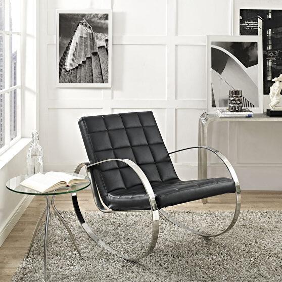 Upholstered vinyl lounge chair in black