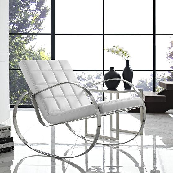 Upholstered vinyl lounge chair in white