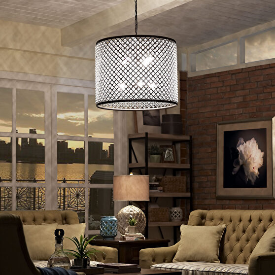 Steel & crystal round glam style chandelier