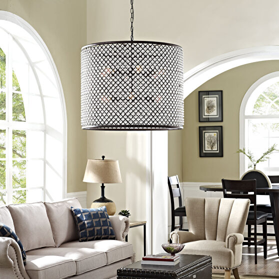 Contemporary round glam style chandelier