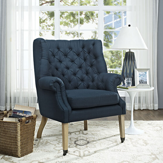 Upholstered fabric lounge chair in azure