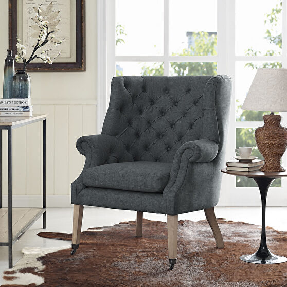 Upholstered fabric lounge chair in gray