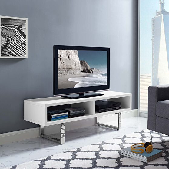 Low profile tv stand in white