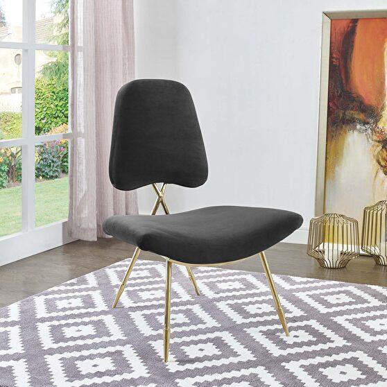 Performance velvet lounge chair in black