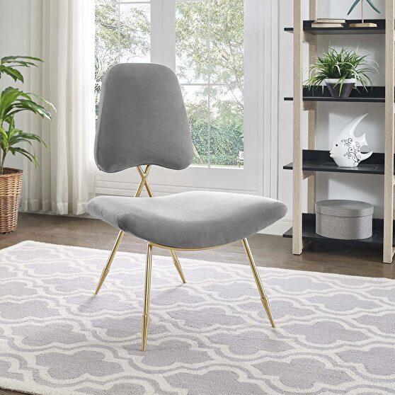 Performance velvet lounge chair in gray
