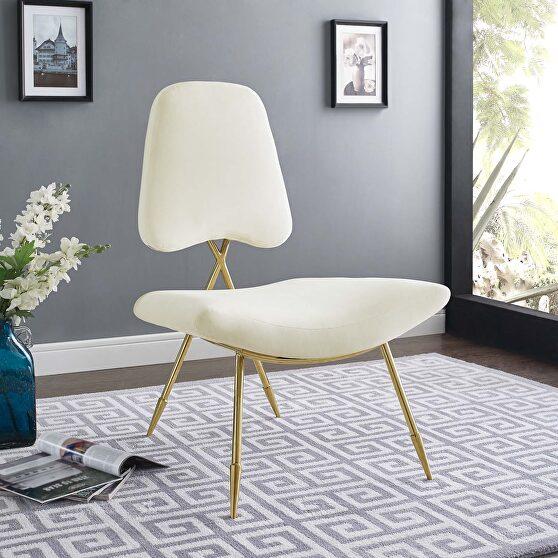 Performance velvet lounge chair in ivory