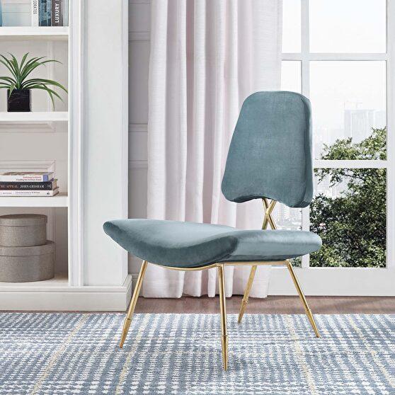 Performance velvet lounge chair in sea blue