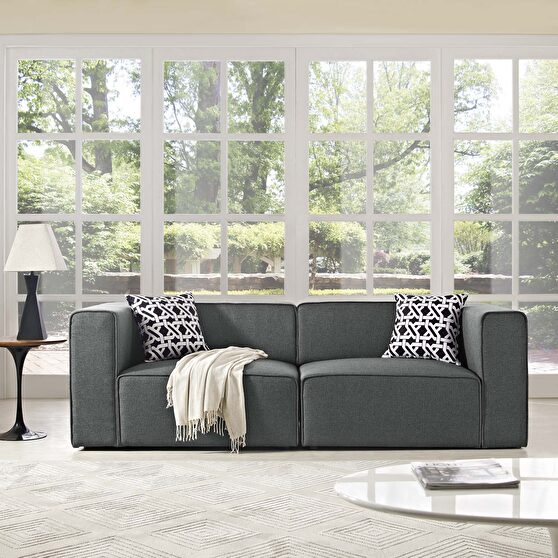 Upholstered gray fabric 2pcs sectional sofa