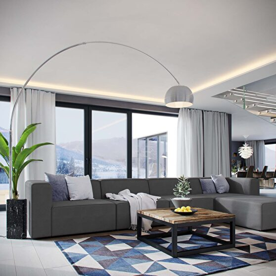 Upholstered gray fabric 5pcs sectional sofa