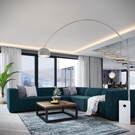 Upholstered blue fabric 5pcs sectional sofa
