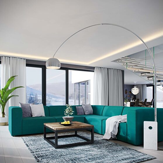 Upholstered teal fabric 5pcs sectional sofa