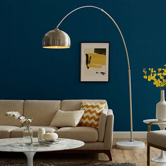 Round marble base / chrome top curved modern floor lamp