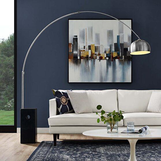 Black cube base chromed contemporary floor lamp