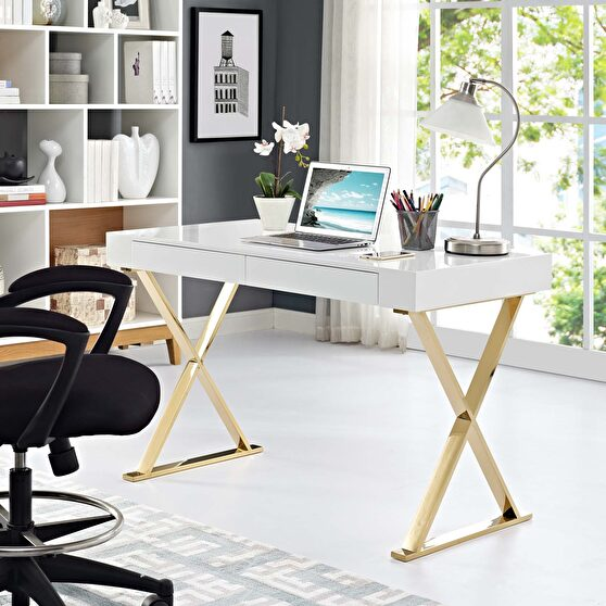 White top / gold legs and base contemporary office desk