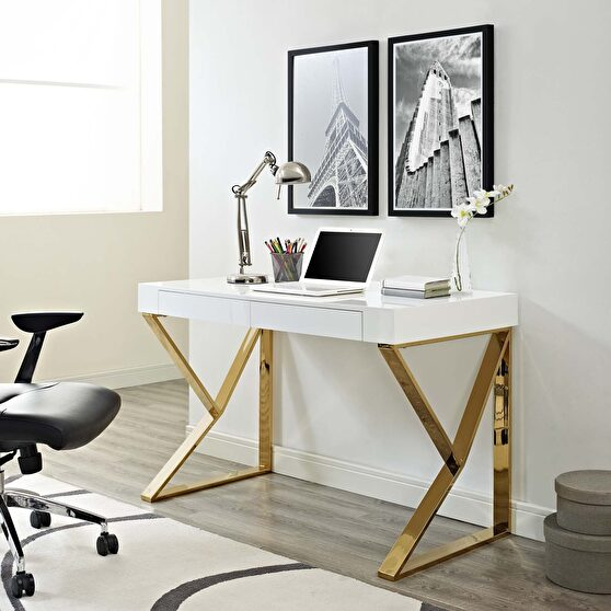 White / gold office computer desk