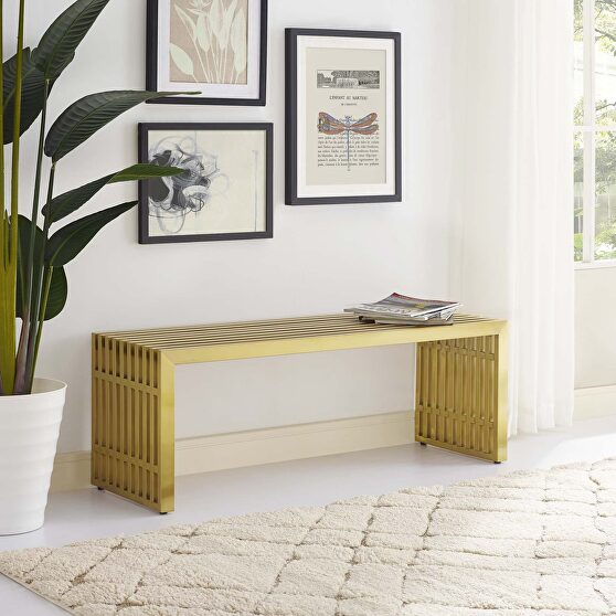 Medium stainless steel bench in gold