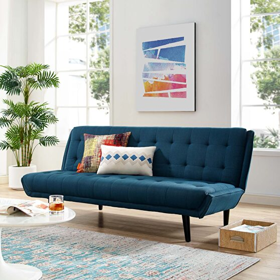 Tufted convertible fabric sofa bed in azure