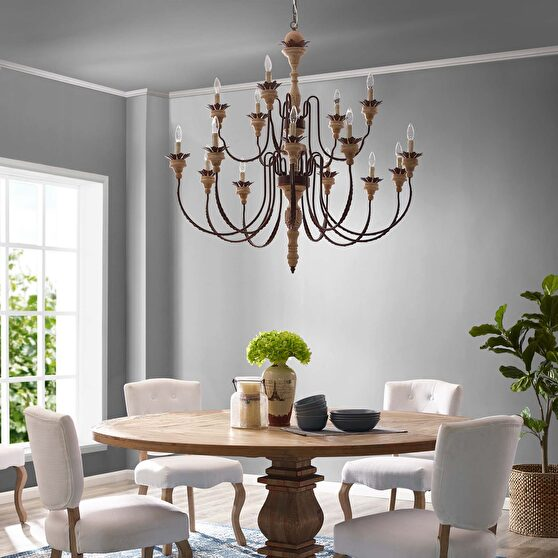 French vintage style ornate leaf design chandelier