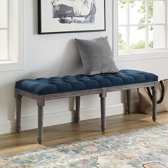 French vintage upholstered fabric bench in navy