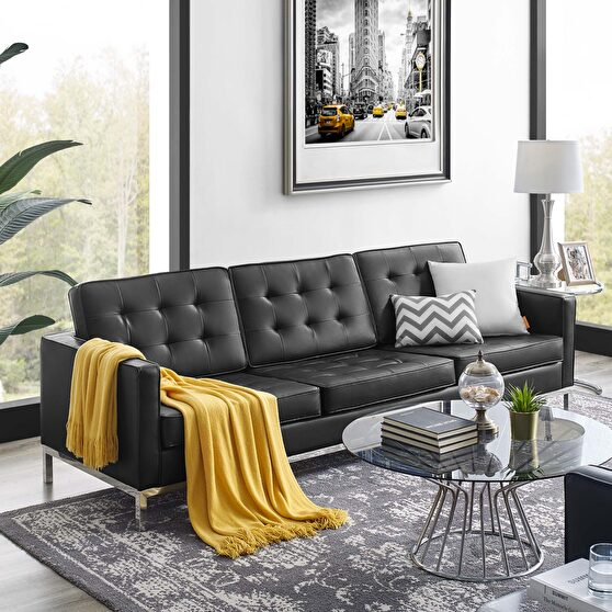 Faux leather sofa in silver black