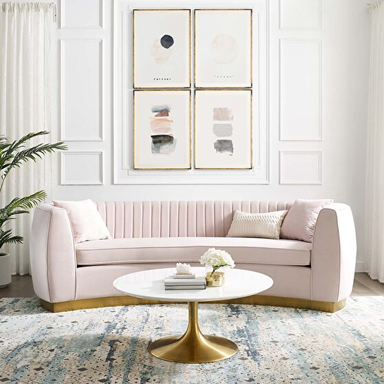 Channel tufted curved performance velvet sofa in pink