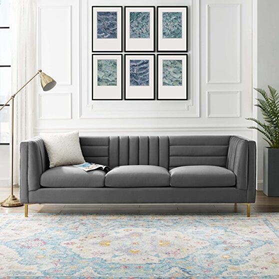 Channel tufted performance velvet sofa in gray