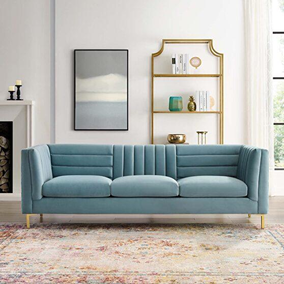 Channel tufted performance velvet sofa in light blue