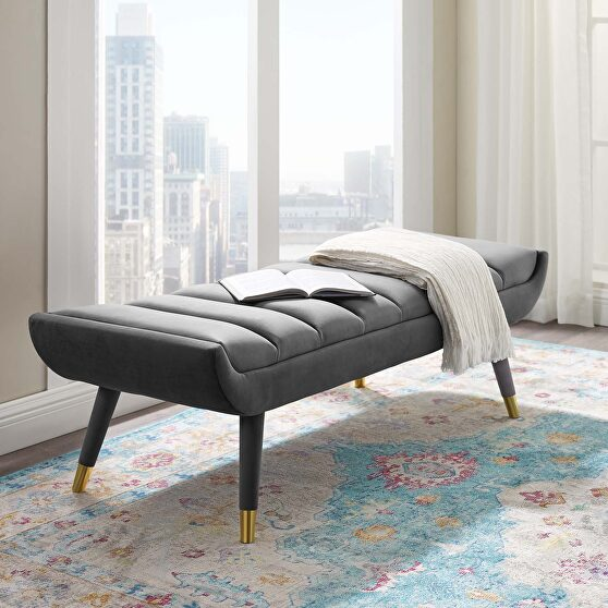 Channel tufted performance velvet accent bench in gray