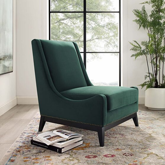 Accent upholstered performance velvet lounge chair in green