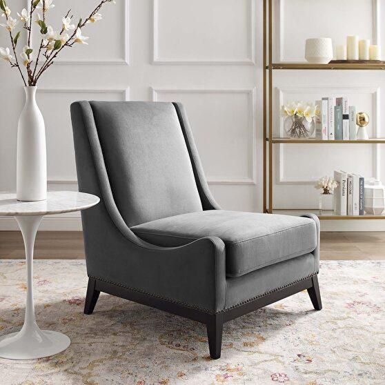 Accent upholstered performance velvet lounge chair in gray