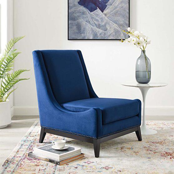 Accent upholstered performance velvet lounge chair in navy