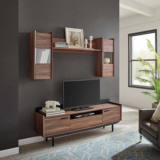2 piece entertainment center in walnut black