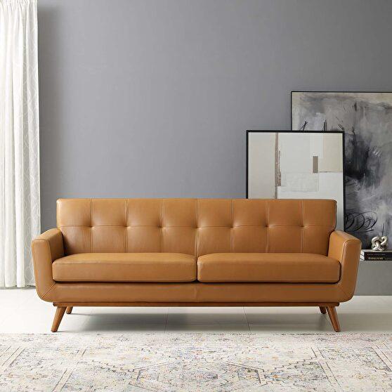 Top-grain leather living room lounge sofa in tan