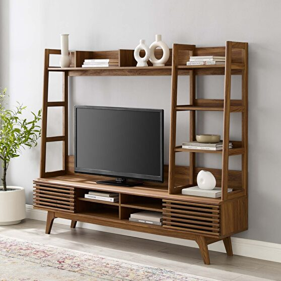 Tv stand entertainment center in walnut