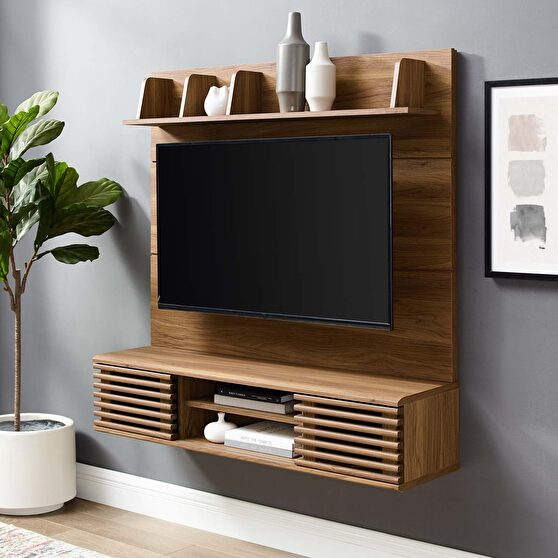 Wall mounted tv stand entertainment center in walnut