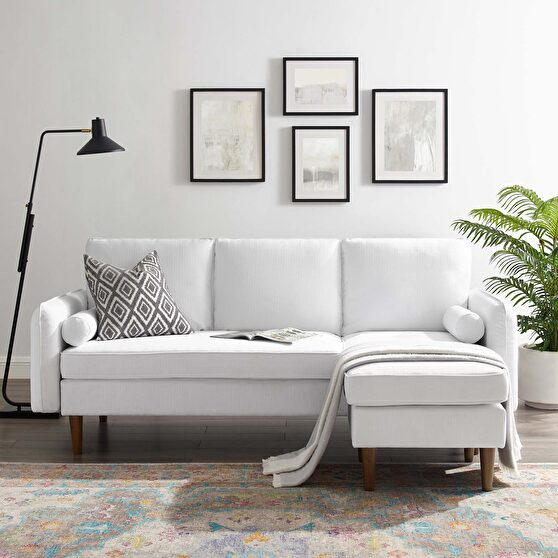 Right or left sectional sofa in white