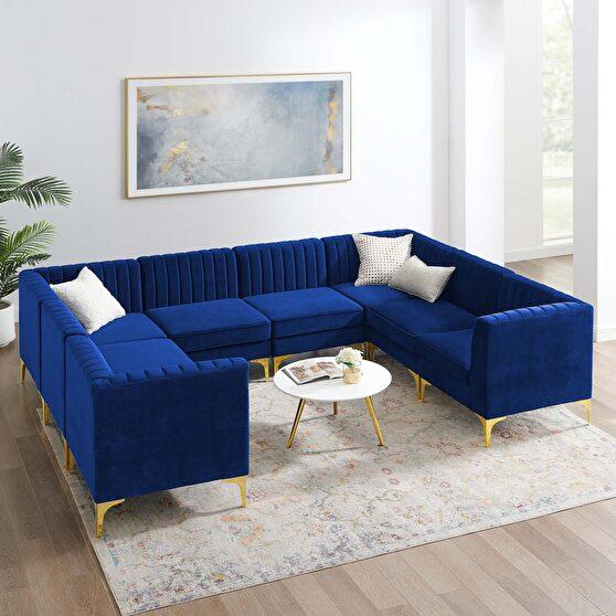 Channel tufted navy performance velvet 8pcs sectional sofa