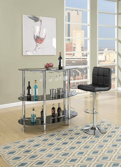 Modern black glass bar table