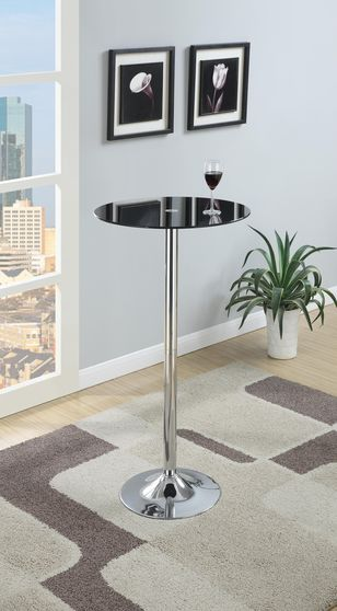 Round black glass bar table