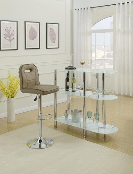 Bar stand with white frosted glass inserts