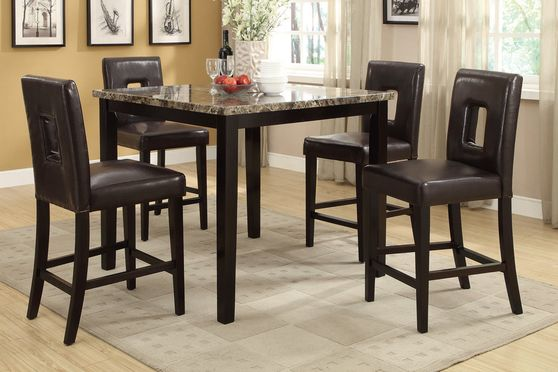 Bar height brown faux marble 5pcs set