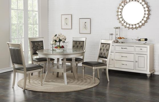 Silver finish round dining table w/ insert