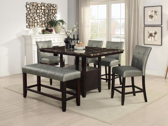 Faux marble top casual style counter height table