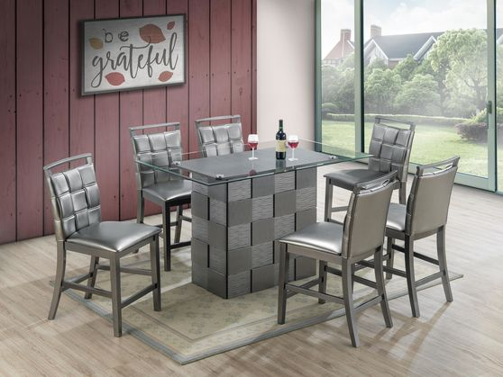 Checker base glass top gray table